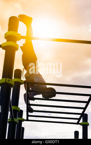 man practice street workout - Stock Photo