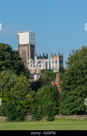 Restoration and scaffolding on Durham Cathedral, view taken from the Racecourse within the city of Durham, England - Stock Photo