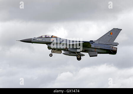 A Belgian Air Component General Dynamics F-16AM, FA-95, on finals to land at the RNAS Yeovilton International Air - Stock Photo