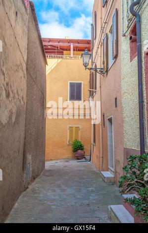 the beautiful alley of castelsardo old city - sardinia - italy - Stock Photo