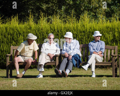 ISLE OF THORNS, SUSSEX/UK - SEPTEMBER 11 : Spectators at a Lawn Bowls Match at Isle of Thorns Chelwood Gate in Sussex - Stock Photo