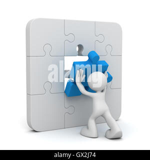 man completing the puzzle 3d illustration - Stock Photo