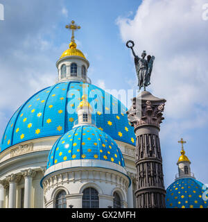Trinity Cathedral and Column of Glory, Saint Petersburg, Russia - Stock Photo