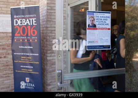 Hempstead, New York, USA. September 13, 2016. Students and community members enter John Cranford Adams Playhouse - Stock Photo