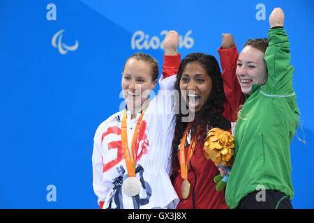 Rio de Janeiro, Brazil. 14th Sep, 2016. (L-R) Claire Cashmore (GBR), Katarina Roxon (CAN), Ellen Keane (IRL) Swimming - Stock Photo