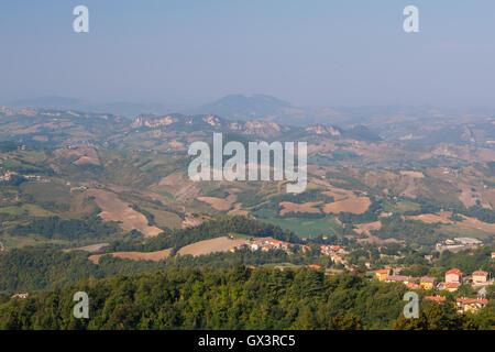 Panoramic View from Guaita Tower in Republic of San Marino - Stock Photo