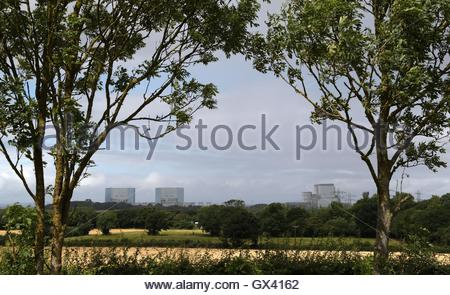 File photo dated 28/07/16 of Hinkley Point A Magnox nuclear power station (left) and Hinkley Point B power station - Stock Photo