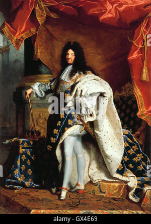 LOUIS XIV OF FRANCE (1638-1715) painted by Hyacinthe Rigaud in 1701 - Stock Photo