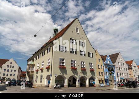 Rathaus in  Schongau, Oberbayern, Bayern, Deutschland, Europa | city hall,  Schongau,  Upper-Bavaria, Bavaria, Germany, - Stock Photo