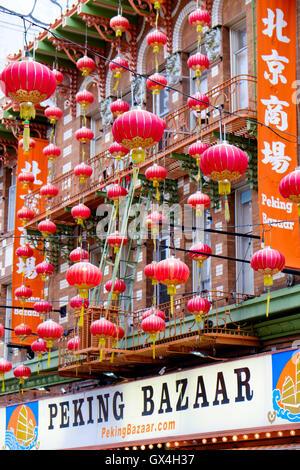 Red lanterns outside Peking Bazaar in China Town San Francisco, California - Stock Photo