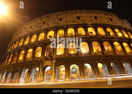 a stunning night shot of the Colosseum, Rome, Italy, il Colosseo, Roma - Stock Photo