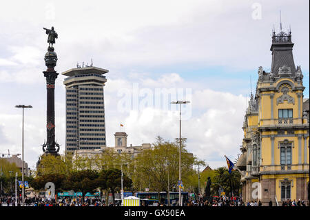 Spain, Barcelona. Barcelona's old Customs building and the Columbus Monument. - Stock Photo