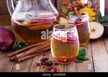 Fall sparkling drink with apple cider and pomegranate - Stock Photo