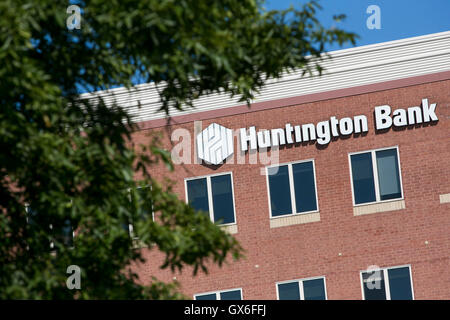 A logo sign outside of the headquarters of Huntington Bancshares, Inc., in Columbus, Ohio on July 23, 2016. - Stock Photo