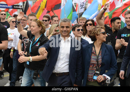 Mayor of London Sadiq Khan and wife Saadiya join  the annual Pride in London parade which celebrates the coming - Stock Photo
