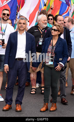 Pride London Parade, London  Featuring: Sadiq Khan Where: London, United Kingdom When: 25 Jun 2016 - Stock Photo
