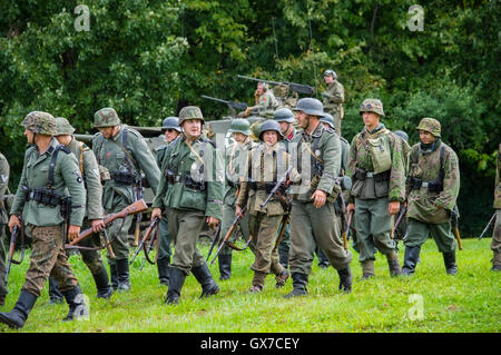 German Infantry on the march. Shot at 'World War 2 Days' history re-enactment event held at Dellwood Park, Lockport, - Stock Photo