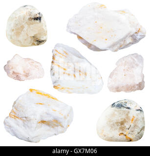 collection from specimens of barite ore isolated on white background - Stock Photo