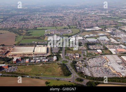 aerial view of Darlington from over the A66 looking west along the A67 Yarm Road, UK - Stock Photo
