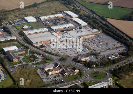 aerial view of the Morrisons superstore supermarket on the east side of Darlington, County Durham, UK - Stock Photo