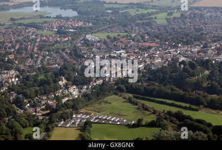 aerial view of Knaresborough, North Yorkshire, UK - Stock Photo