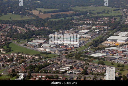 aerial view of Industrial and business units on the A6120 ring road & Coal Road, near Leeds, UK - Stock Photo