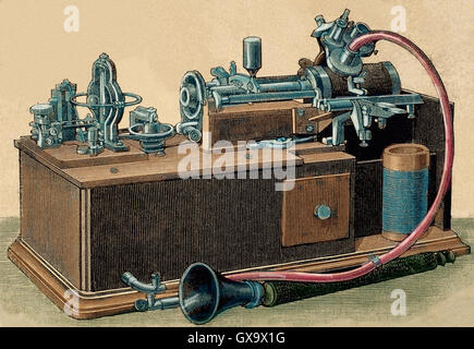 Phonograph invented in 1877 by Thomas Alva Edison (1847-1931).  Engraving, 19th century. Colored. - Stock Photo