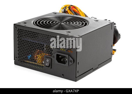 the power supply for the computer isolated on white background - Stock Photo