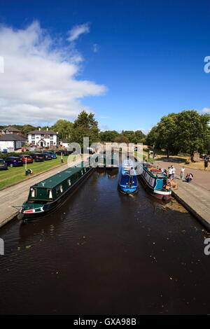 Narrowboats moored in the Trevor Basin on the Llangollen Canal - Stock Photo