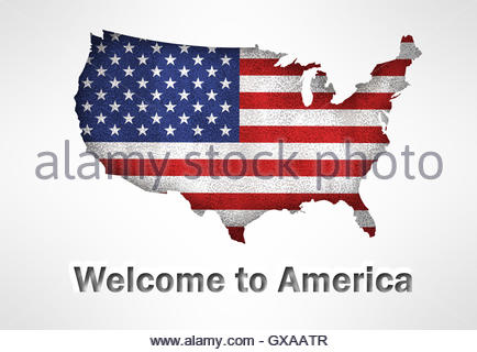 United States Of America Flag And USA Map Contour In Old Fashioned - Us map flag
