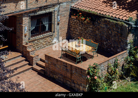 inner courtyard of a house in the village of puente de san miguel cantabria