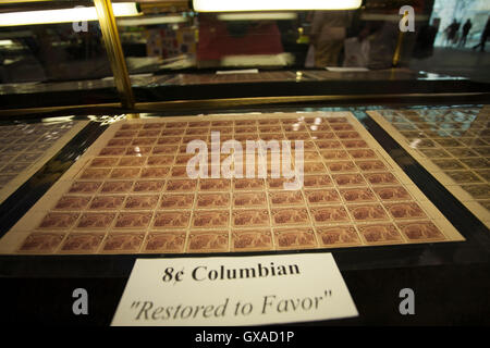 World Stamp Show-NY 2016 display of a rare Columbian sheet of stamps. - Stock Photo