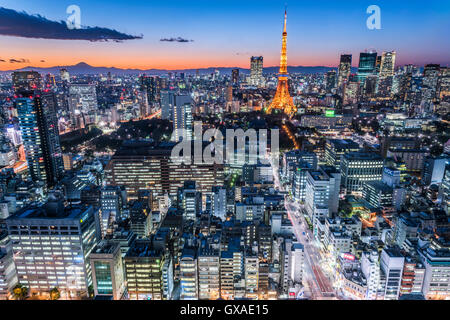 Tokyo Tower and Mt. Fuji, view from Minato-Ku,Tokyo,Japan - Stock Photo