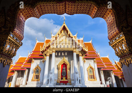 Wat Benchamabophit also known as Marble Temple at sunset, Bangkok, Thailand - Stock Photo