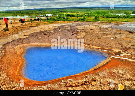 Hot springs in Haukadalur Valley - Iceland - Stock Photo
