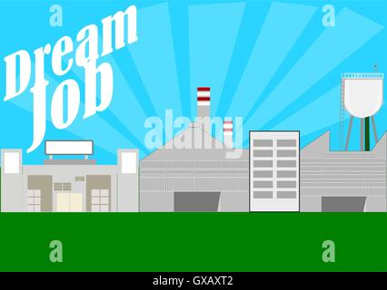 Industrial Banner with Dream job word - Stock Photo