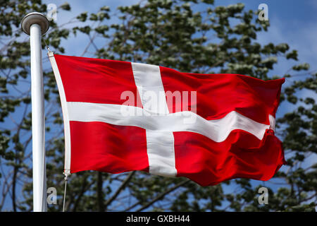 Dannebrog, the Danish flag - Stock Photo