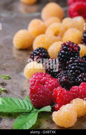 Heap of colorful raspberries - Stock Photo