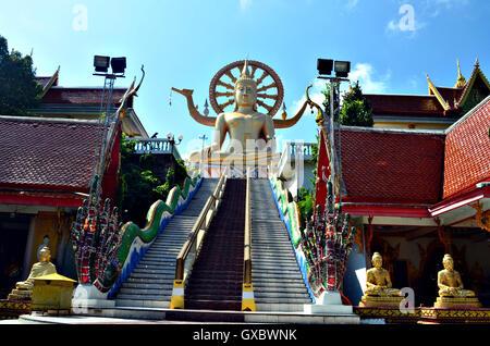 stairs to big buddha statue in Koh Samui, Thailand - Stock Photo
