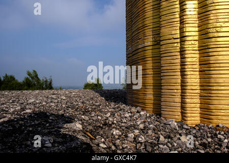 Gold Leaf sculpture at Pooley Country Park, Warwickshire, UK - Stock Photo