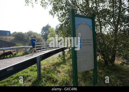 Sign for Pooley Country Park, Warwickshire, UK - Stock Photo