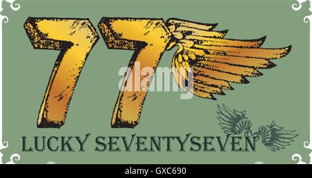 number, seven, wing, golden, gold - Stock Photo