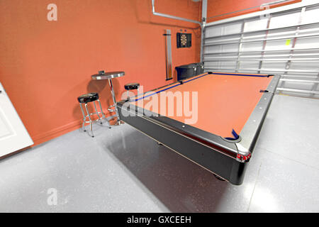 A Games Room With Pool Table In A Garage   Stock Photo