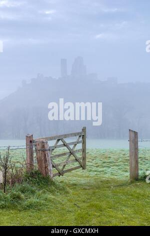 Corfe Castle's gate - Stock Photo