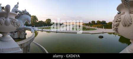 A panorama of Schönbrunn palace in Vienna, Austria - Stock Photo