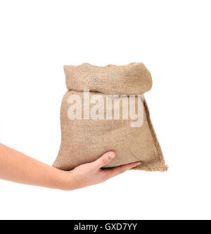 Hand holds bag of money. - Stock Photo