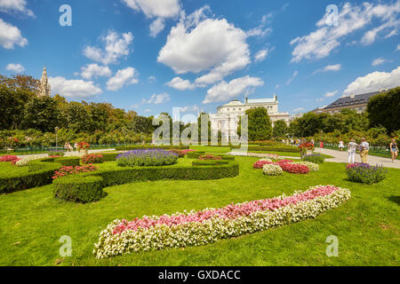 Vienna, Austria - August 14, 2016: View of famous Volksgarten (People's Garden), which is part of the Hofburg Palace. - Stock Photo