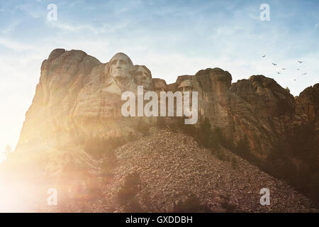 Sunlit view of Mount Rushmore, Keystone, South Dakota,  USA - Stock Photo