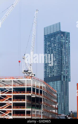 Hilton hotel & Carillon developments high-rise buildings in the Castlefield area of 1st Street near Salford, Manchester, - Stock Photo