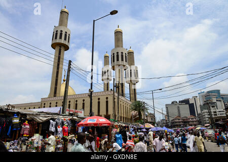 NIGERIA, City Lagos, central mosque and market street - Stock Photo